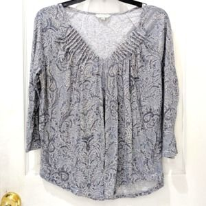 Lucky Brand Paisley Floral Ruched V-Neck Tee